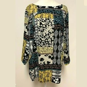 J. Jill Floral Patchwork Top Boat Neck 3/4 Sleeve
